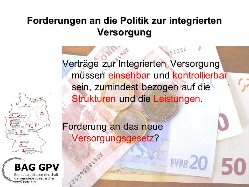 Forderungen an die Politik zur integrierten Versorgung