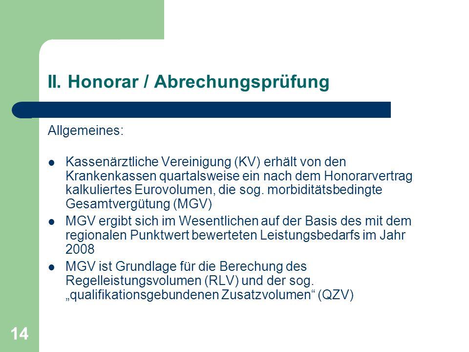 II. Honorar / Abrechungsprüfung