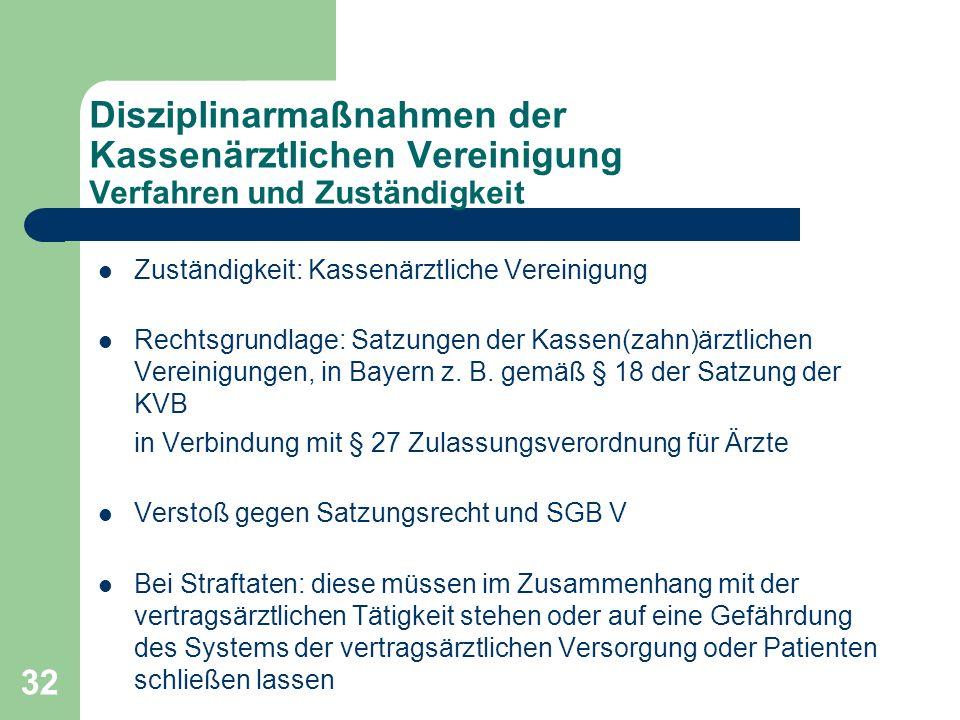 Disziplinarmaßnahmen der Kassenärztlichen Vereinigung Verfahren und Zuständigkeit