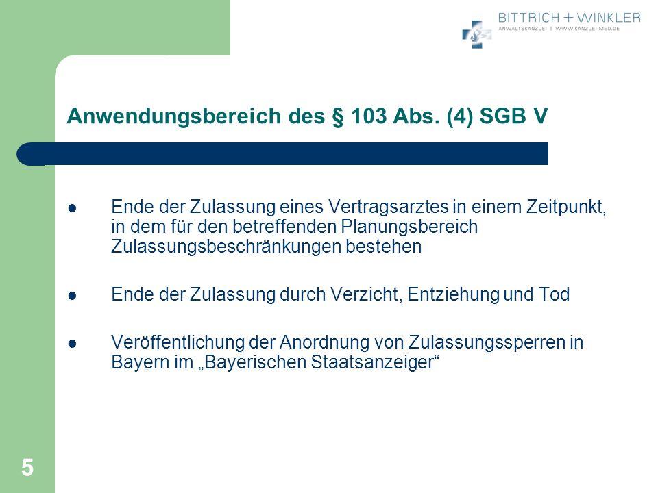 Anwendungsbereich des § 103 Abs. (4) SGB V
