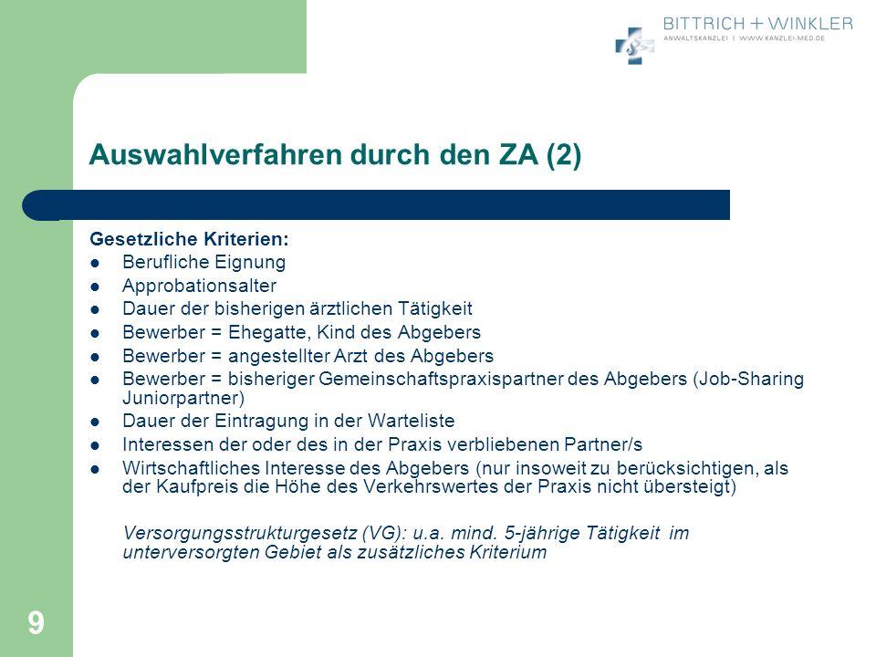Auswahlverfahren durch den ZA (2)