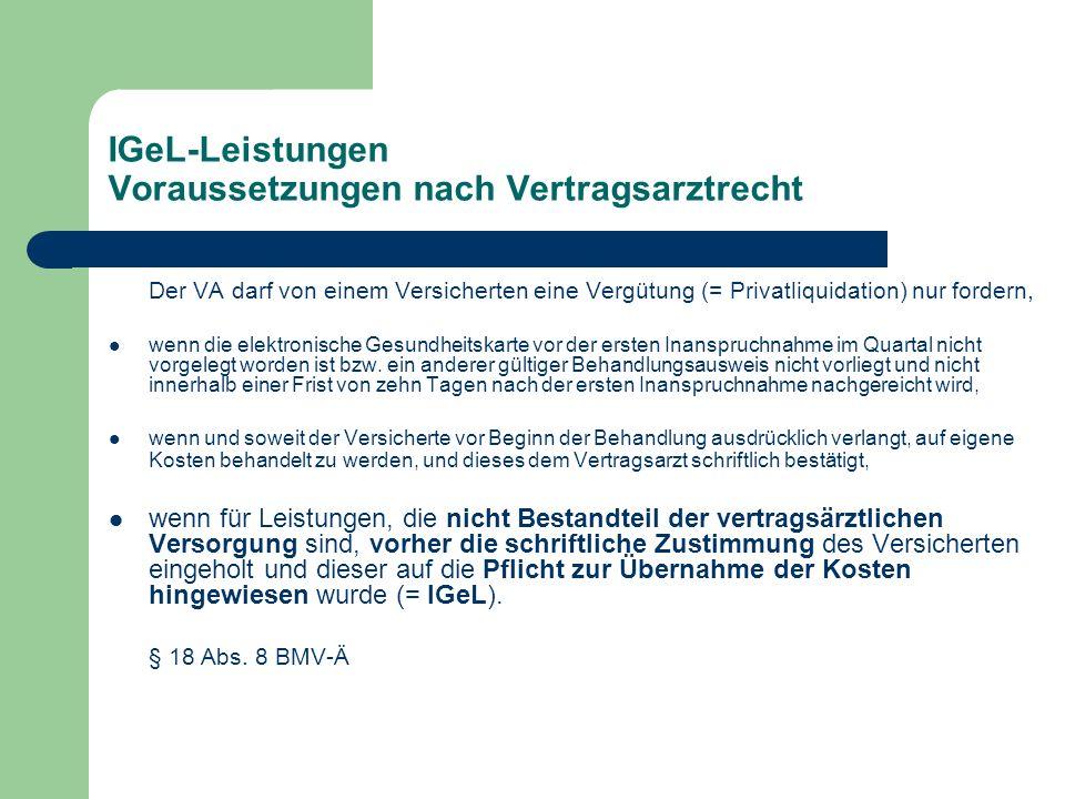 IGeL-Leistungen Voraussetzungen nach Vertragsarztrecht