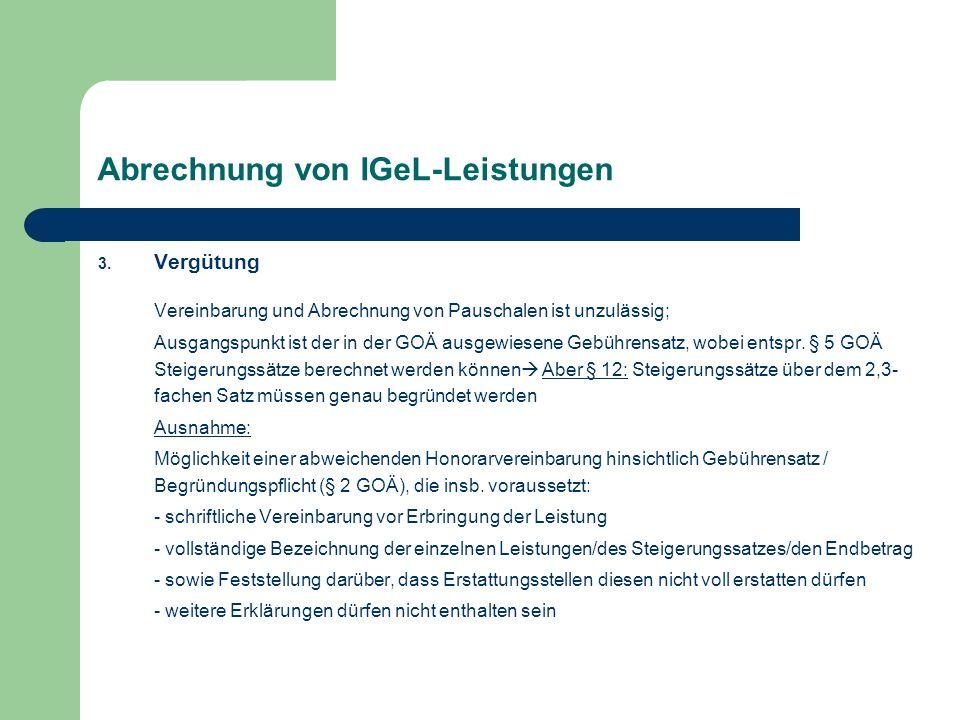 Abrechnung von IGeL-Leistungen