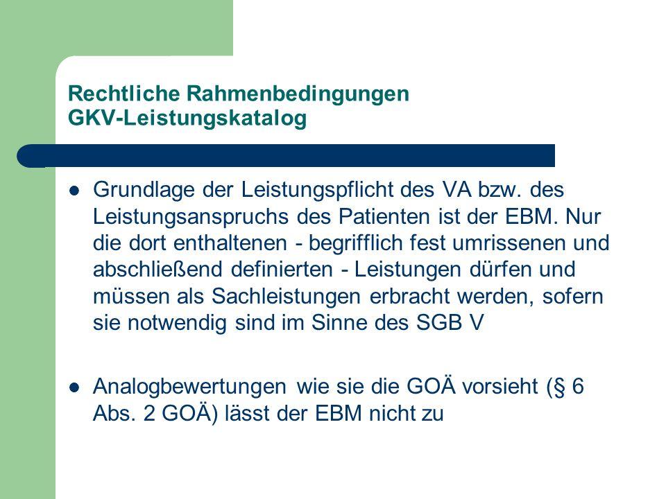 Rechtliche Rahmenbedingungen GKV-Leistungskatalog