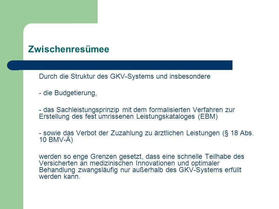 Zwischenresümee Durch die Struktur des GKV-Systems und insbesondere