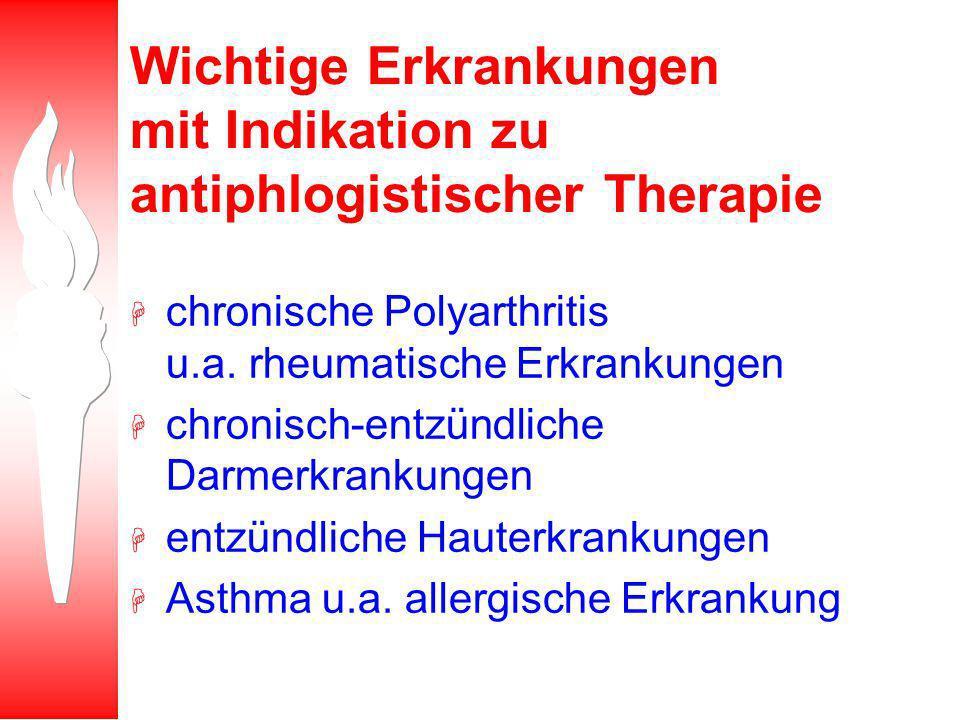 Wichtige Erkrankungen mit Indikation zu antiphlogistischer Therapie
