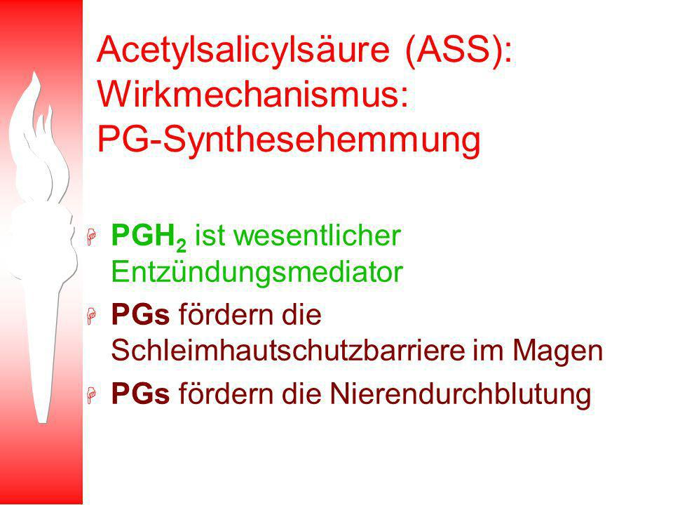 Acetylsalicylsäure (ASS): Wirkmechanismus: PG-Synthesehemmung