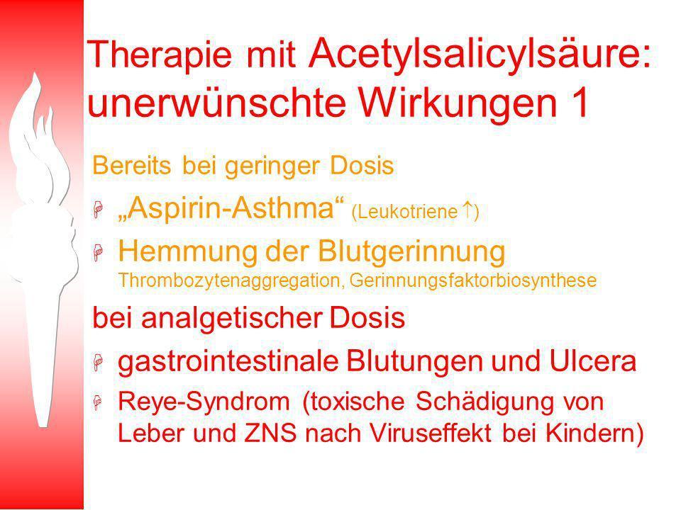 Therapie mit Acetylsalicylsäure: unerwünschte Wirkungen 1