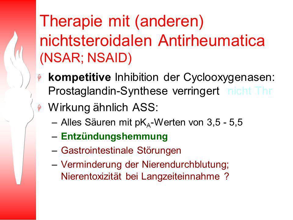 Therapie mit (anderen) nichtsteroidalen Antirheumatica (NSAR; NSAID)