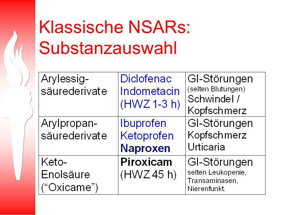 Klassische NSARs: Substanzauswahl