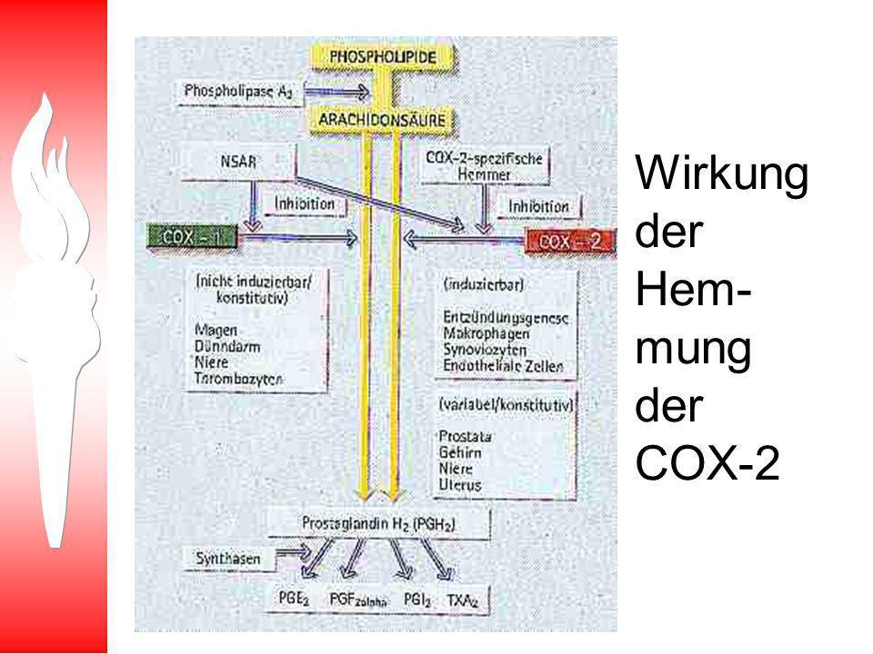 Wirkung der Hem-mung der COX-2