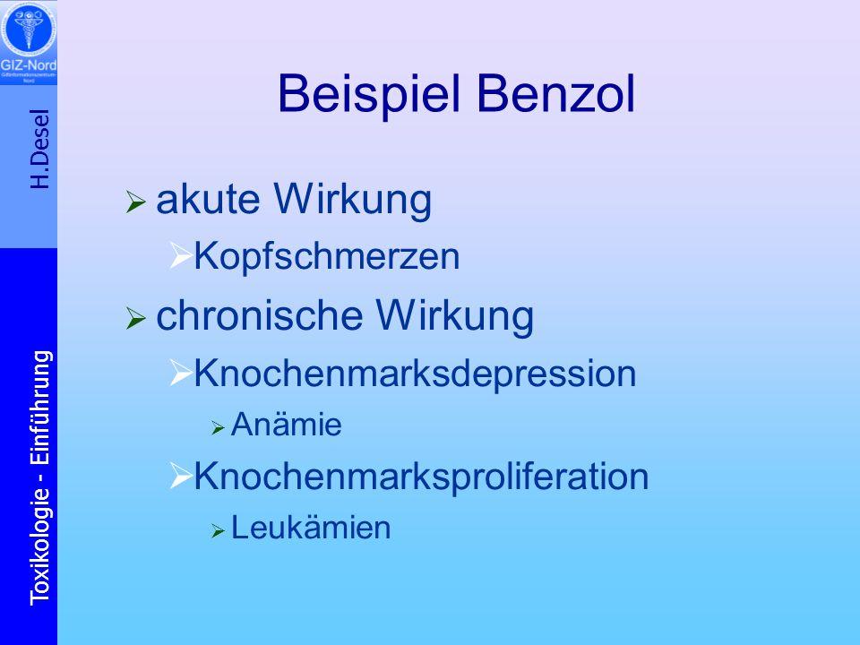 Beispiel Benzol akute Wirkung chronische Wirkung Kopfschmerzen