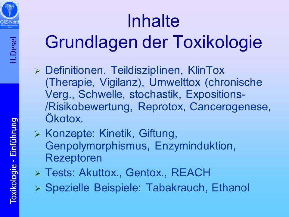 Inhalte Grundlagen der Toxikologie