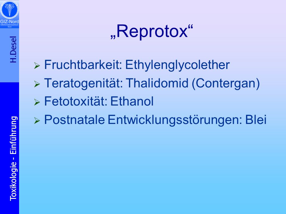 """Reprotox Fruchtbarkeit: Ethylenglycolether"