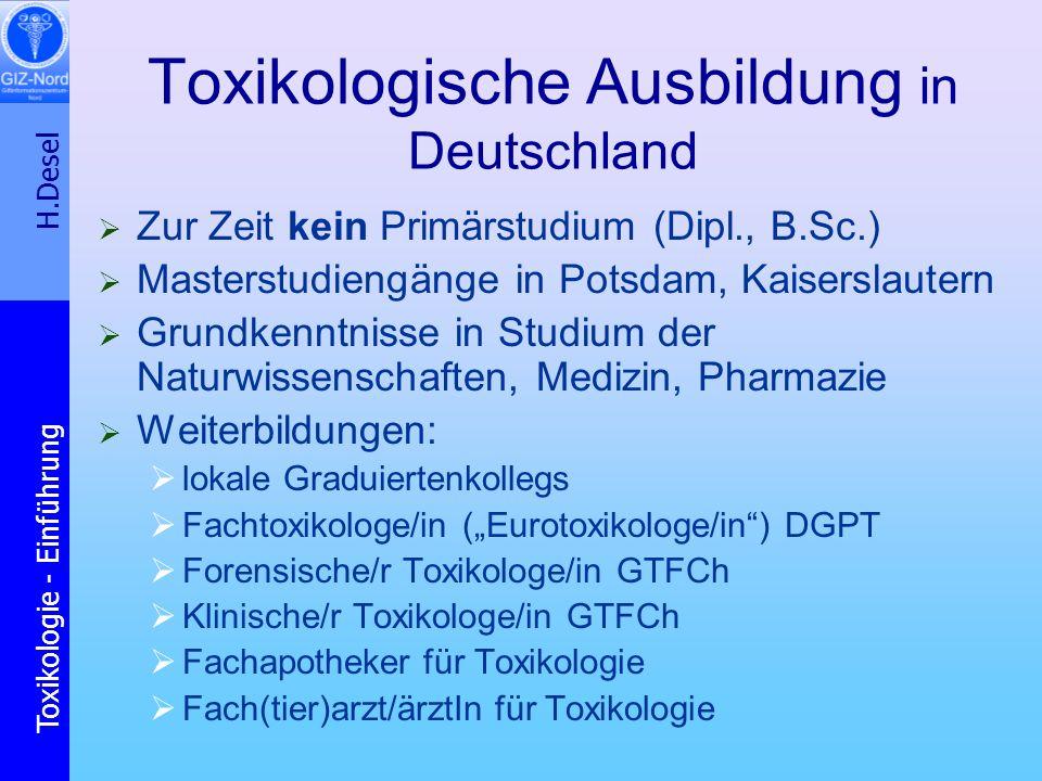 Toxikologische Ausbildung in Deutschland
