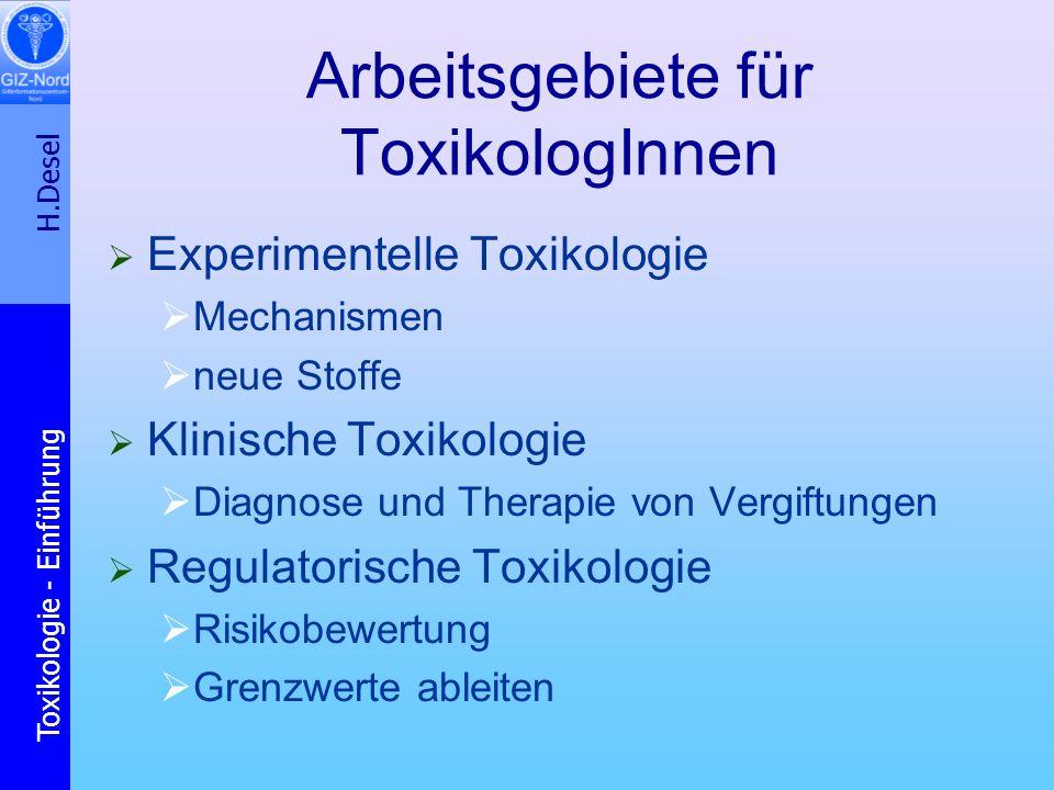 Arbeitsgebiete für ToxikologInnen