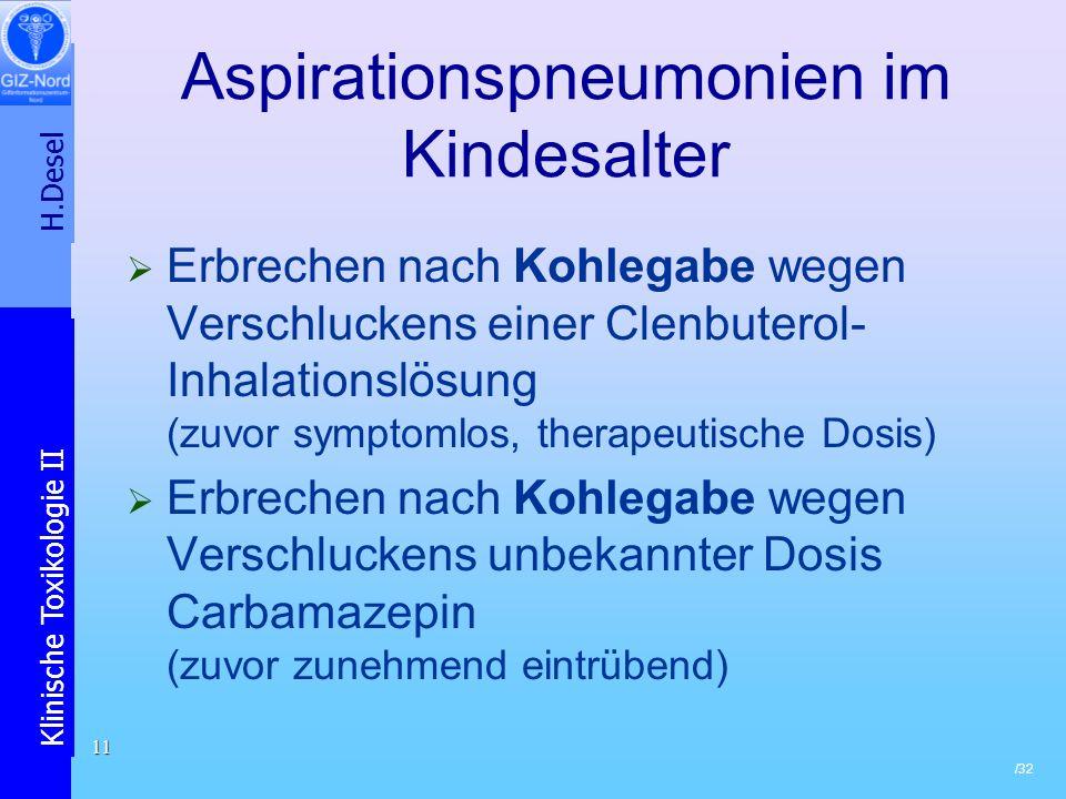 Aspirationspneumonien im Kindesalter