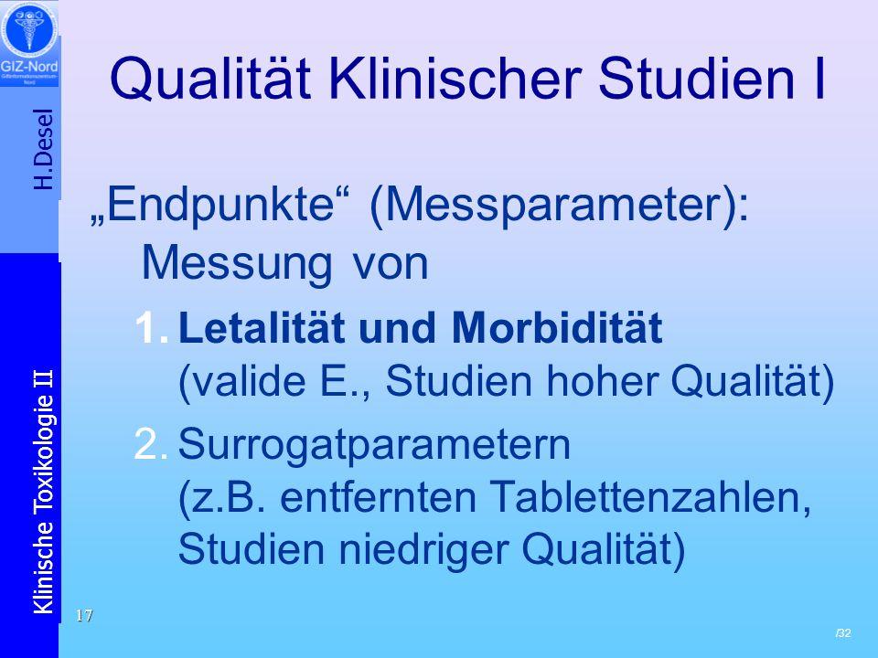Qualität Klinischer Studien I