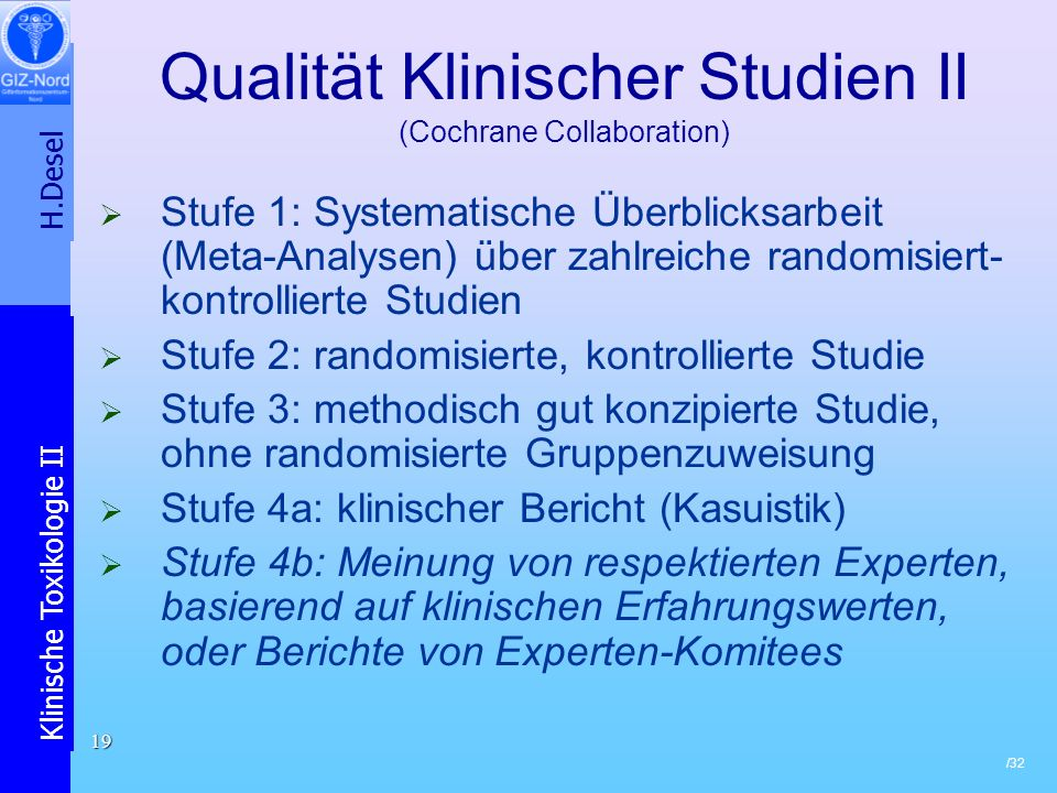 Qualität Klinischer Studien II (Cochrane Collaboration)