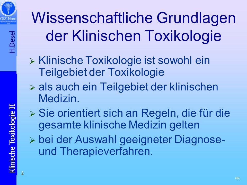 Wissenschaftliche Grundlagen der Klinischen Toxikologie