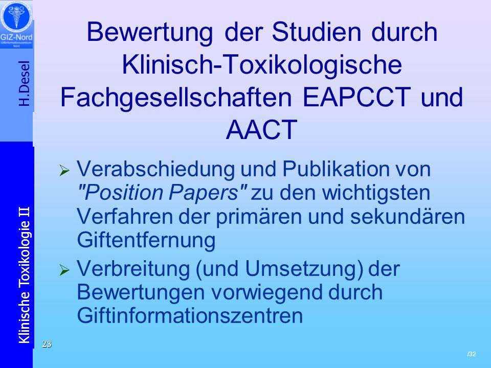 Bewertung der Studien durch Klinisch-Toxikologische Fachgesellschaften EAPCCT und AACT