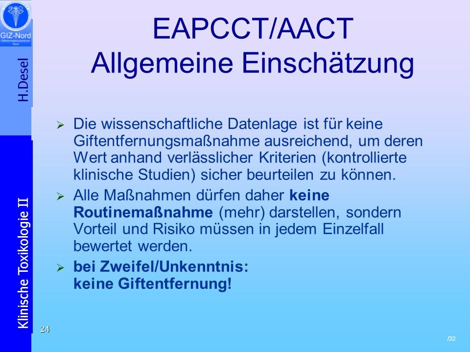 EAPCCT/AACT Allgemeine Einschätzung
