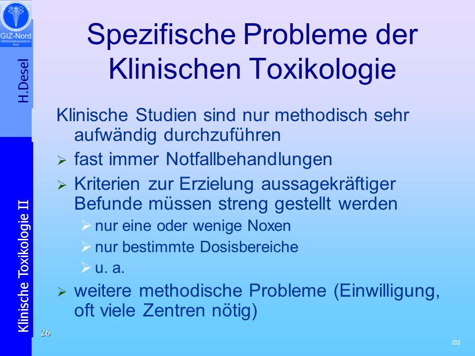 Spezifische Probleme der Klinischen Toxikologie