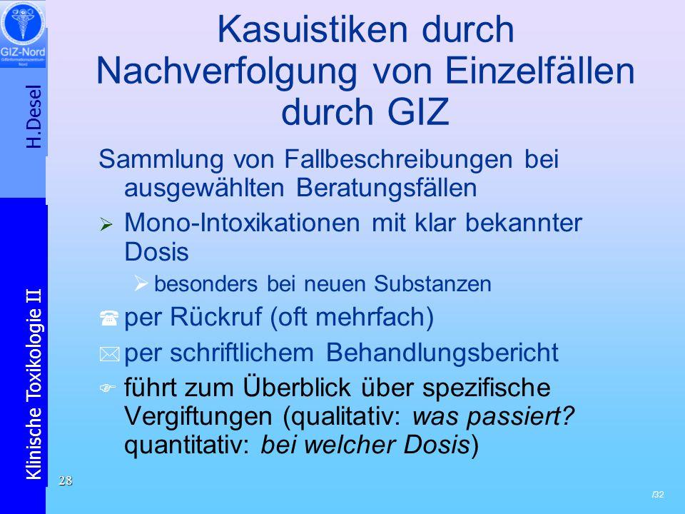 Kasuistiken durch Nachverfolgung von Einzelfällen durch GIZ