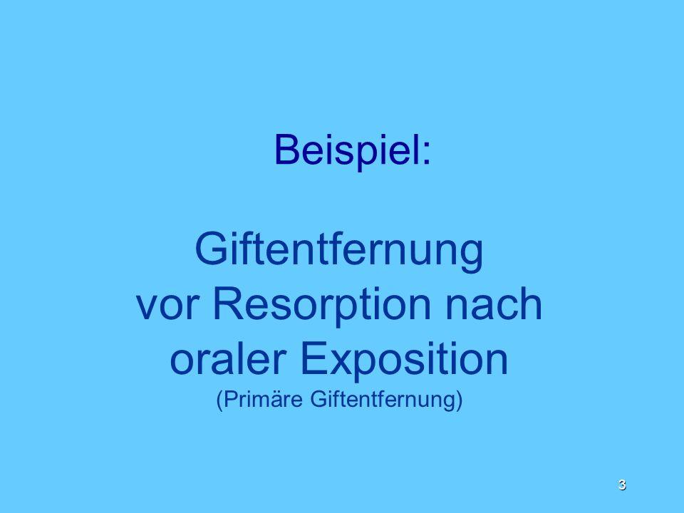 Beispiel: Giftentfernung vor Resorption nach oraler Exposition (Primäre Giftentfernung)