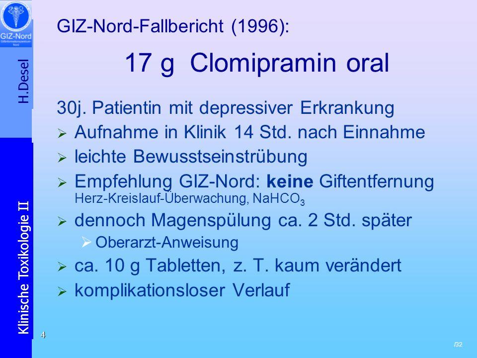 17 g Clomipramin oral GIZ-Nord-Fallbericht (1996):