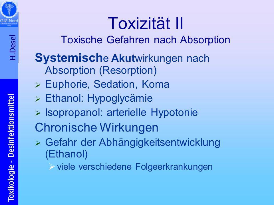 Toxizität II Toxische Gefahren nach Absorption