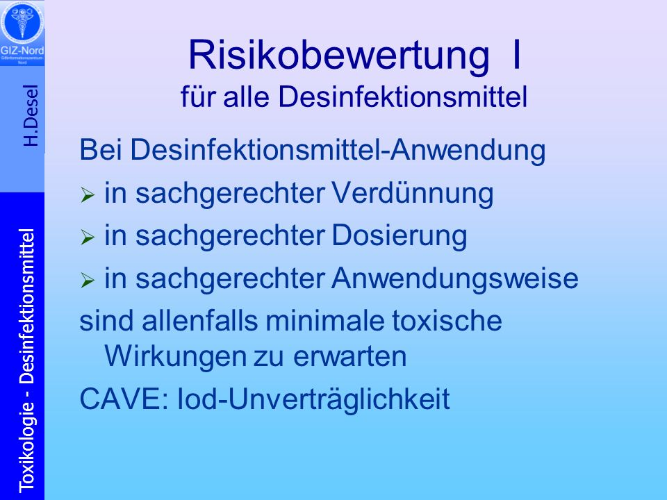 Risikobewertung I für alle Desinfektionsmittel