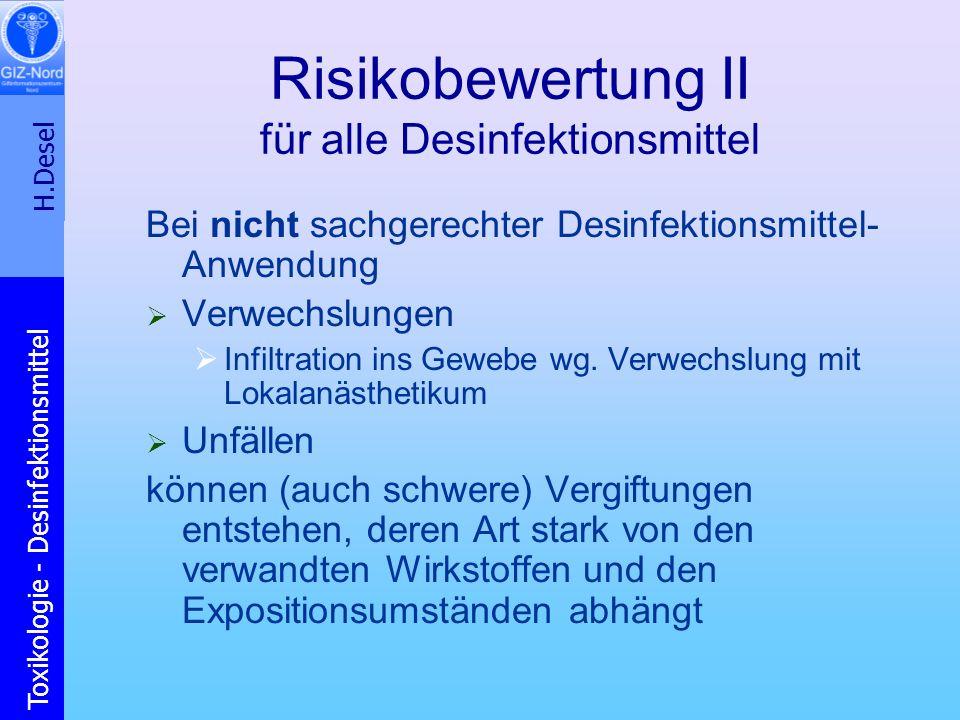 Risikobewertung II für alle Desinfektionsmittel