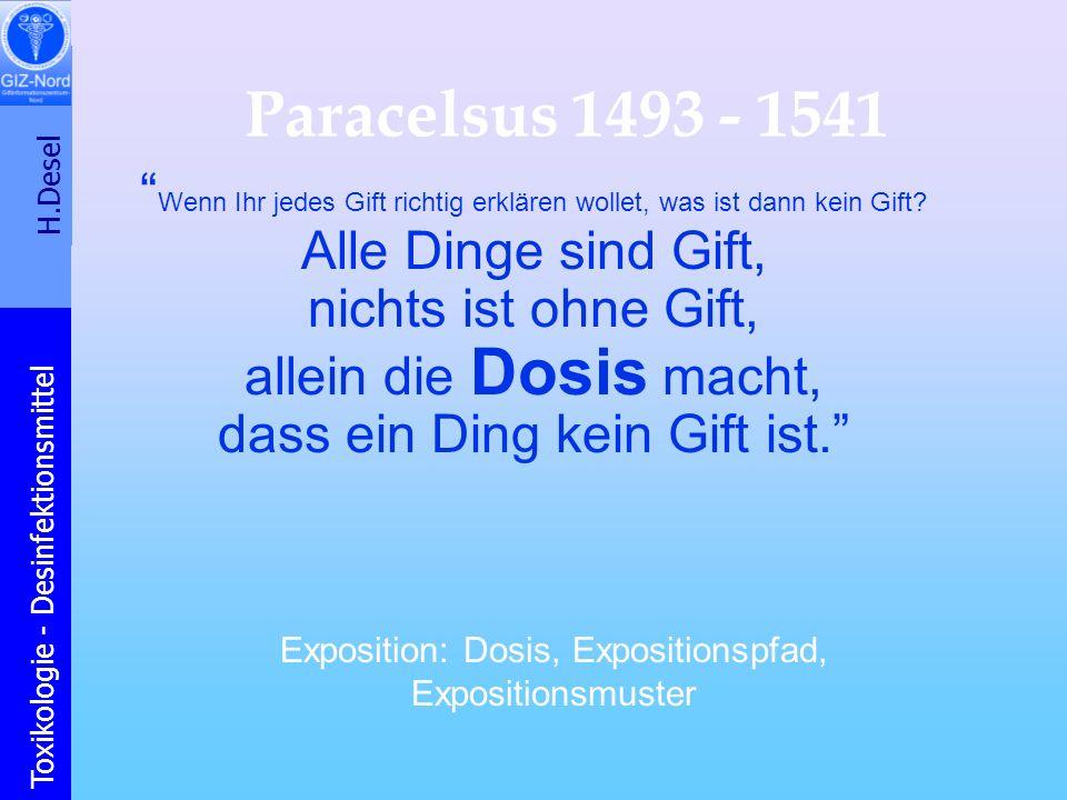 Paracelsus 1493 - 1541 Wenn Ihr jedes Gift richtig erklären wollet, was ist dann kein Gift Alle Dinge sind Gift,