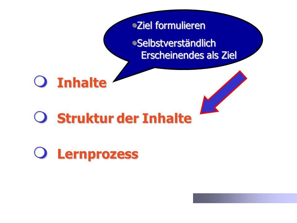 Inhalte Struktur der Inhalte Lernprozess Ziel formulieren