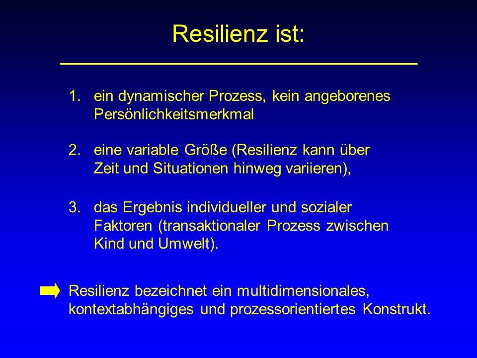 Resilienz ist: 1. ein dynamischer Prozess, kein angeborenes Persönlichkeitsmerkmal.