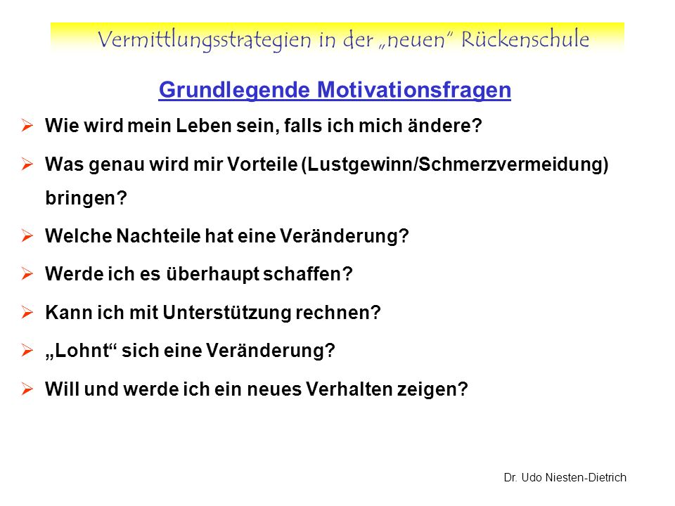 Grundlegende Motivationsfragen