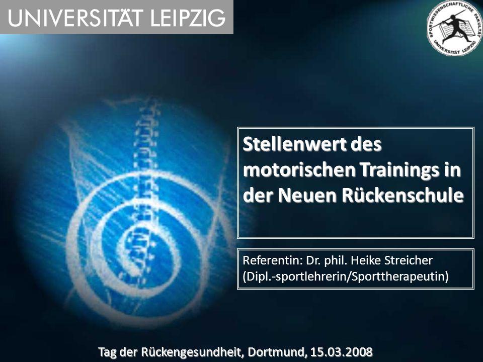Stellenwert des motorischen Trainings in der Neuen Rückenschule