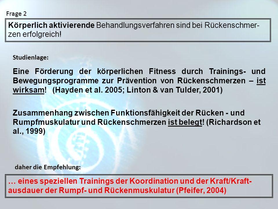 Frage 2 Körperlich aktivierende Behandlungsverfahren sind bei Rückenschmer-zen erfolgreich! Studienlage: