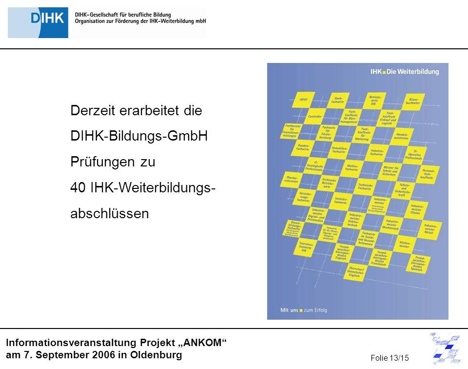 Derzeit erarbeitet die DIHK-Bildungs-GmbH Prüfungen zu