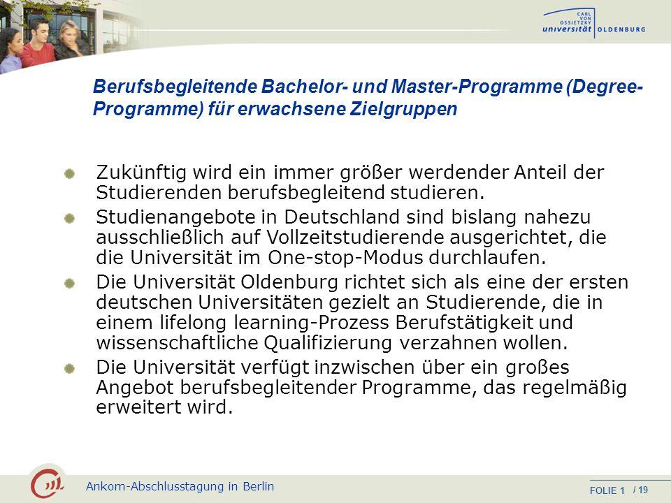 Berufsbegleitende Bachelor- und Master-Programme (Degree-Programme) für erwachsene Zielgruppen