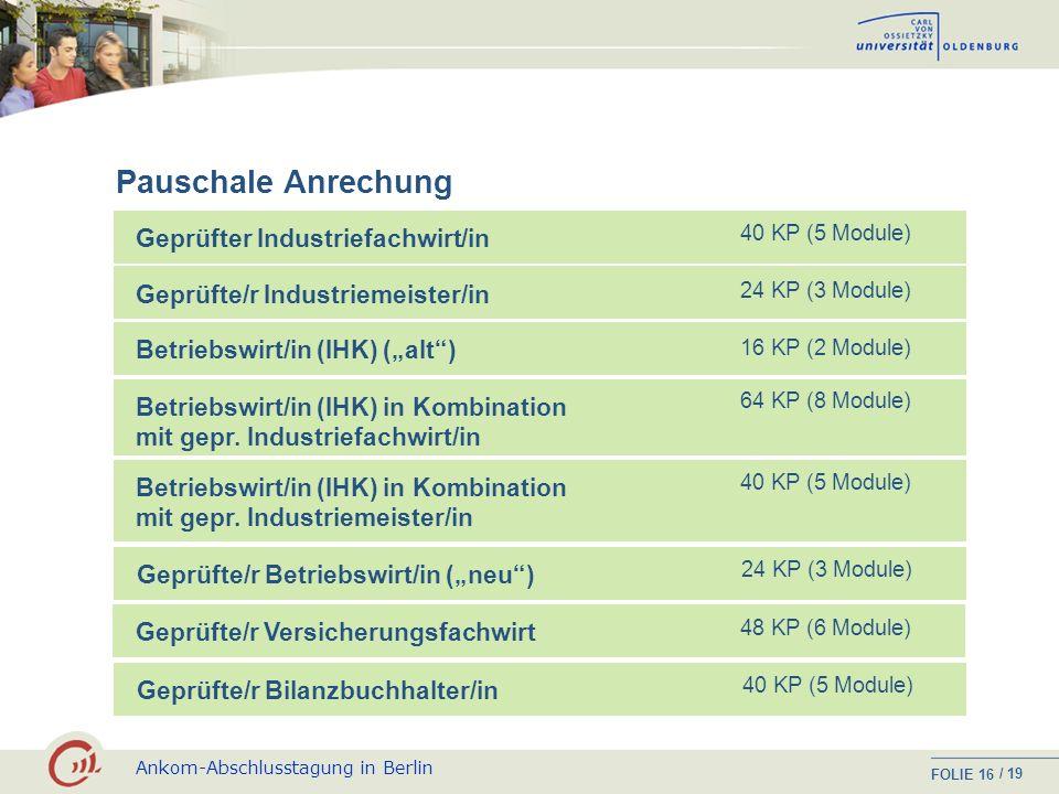 Pauschale Anrechung Geprüfter Industriefachwirt/in