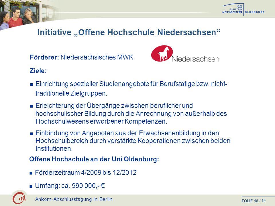 """Initiative """"Offene Hochschule Niedersachsen"""