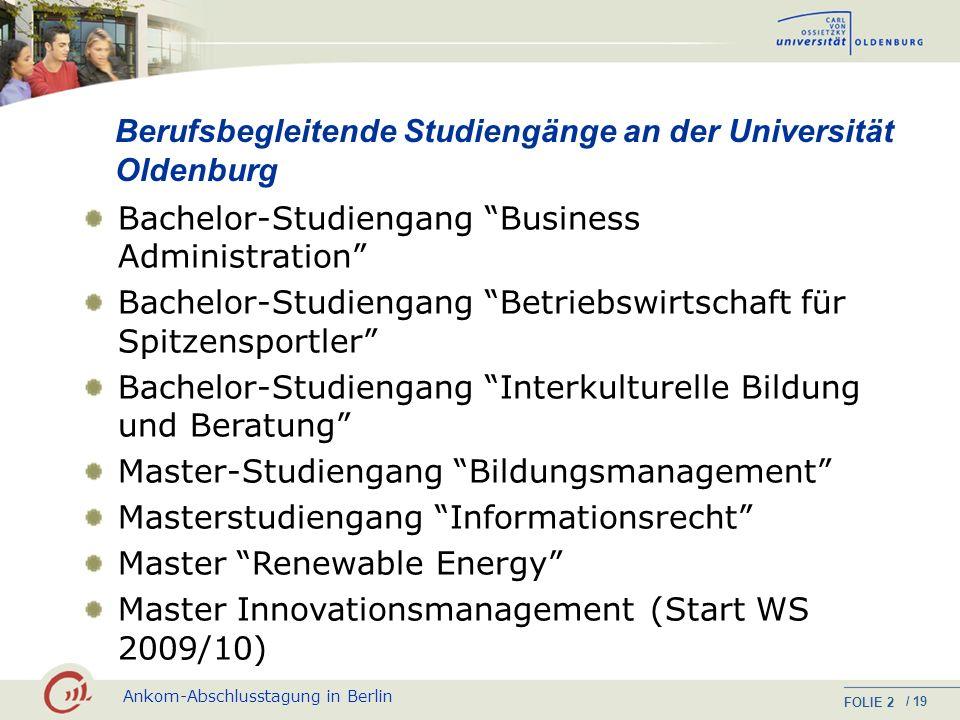 Berufsbegleitende Studiengänge an der Universität Oldenburg