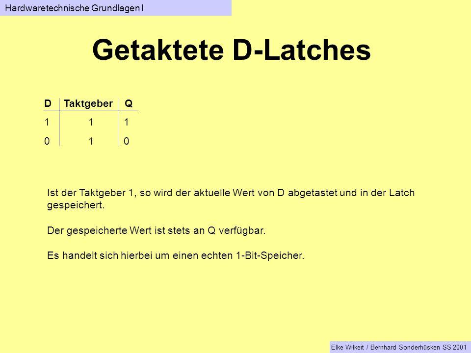 Getaktete D-Latches D Taktgeber Q 1 1 0 1 0