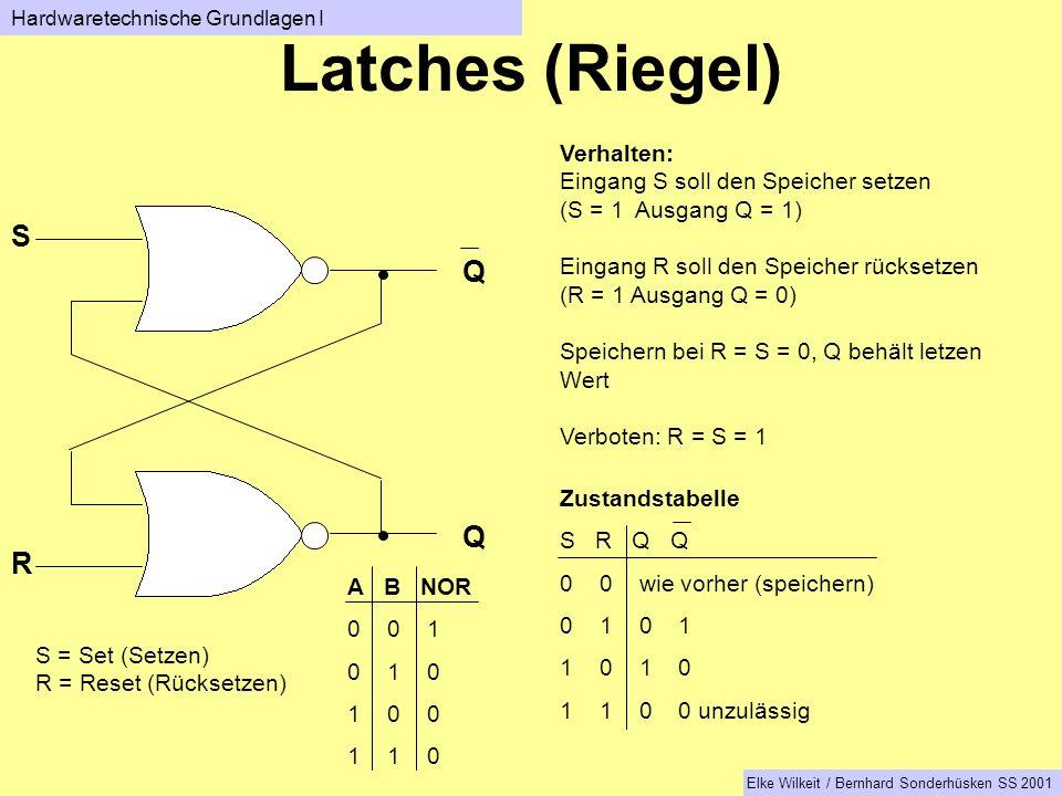 Latches (Riegel) S Q Q R Verhalten: Eingang S soll den Speicher setzen