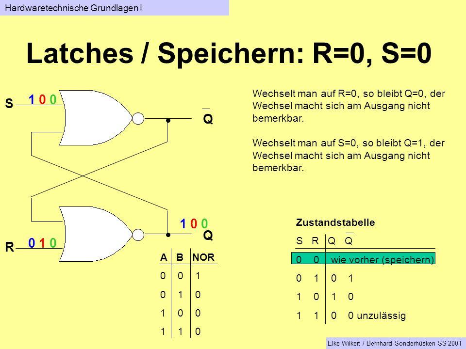Latches / Speichern: R=0, S=0