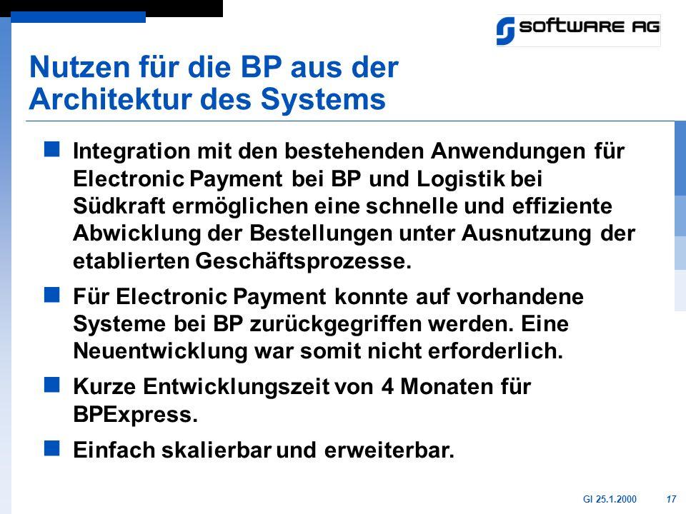Nutzen für die BP aus der Architektur des Systems