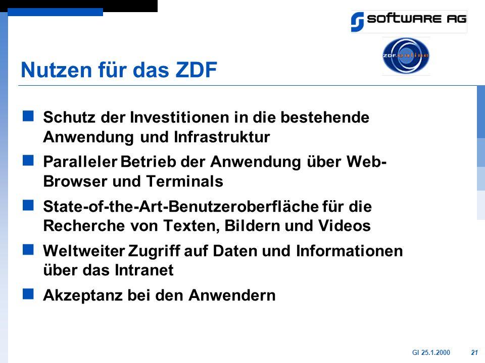 Nutzen für das ZDF Schutz der Investitionen in die bestehende Anwendung und Infrastruktur.