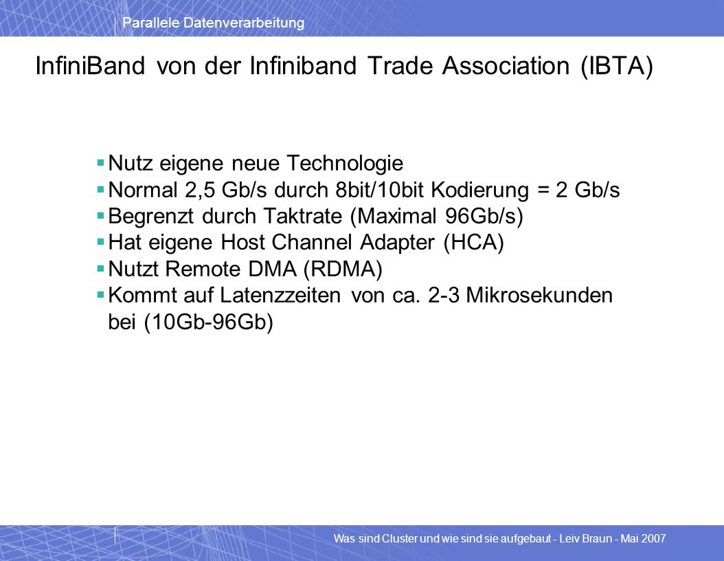 InfiniBand von der Infiniband Trade Association (IBTA)